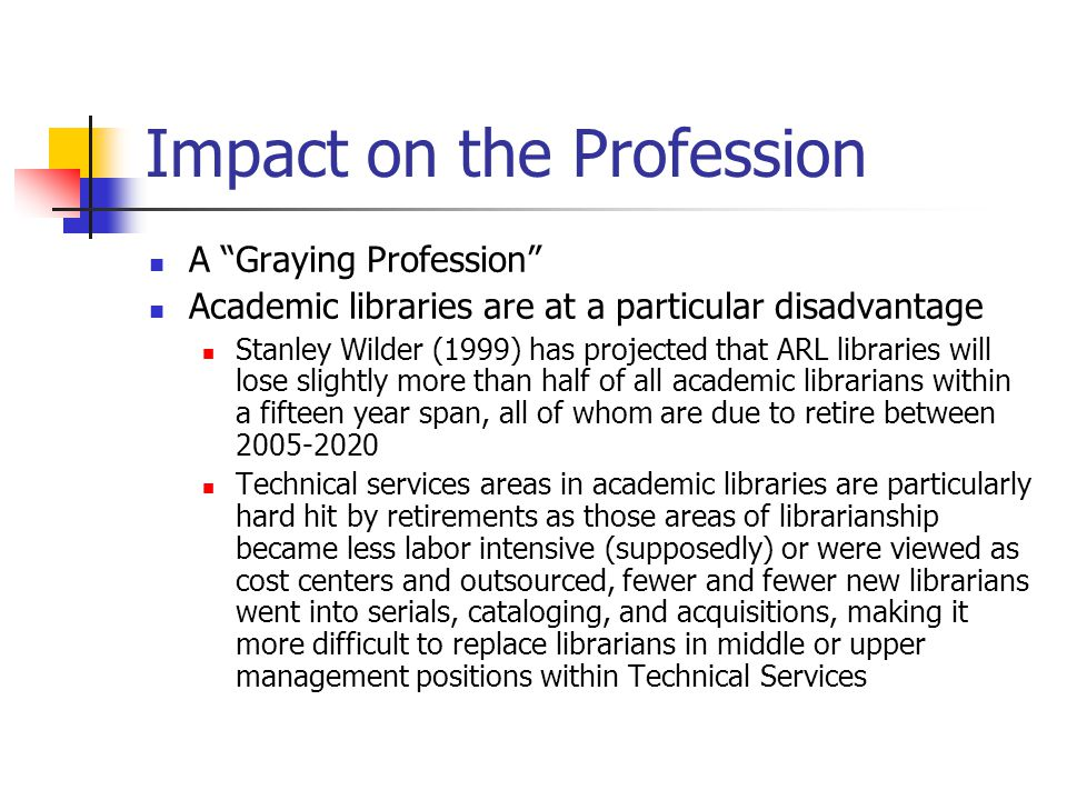 Impact on the Profession A Graying Profession Academic libraries are at a particular disadvantage Stanley Wilder (1999) has projected that ARL libraries will lose slightly more than half of all academic librarians within a fifteen year span, all of whom are due to retire between 2005-2020 Technical services areas in academic libraries are particularly hard hit by retirements as those areas of librarianship became less labor intensive (supposedly) or were viewed as cost centers and outsourced, fewer and fewer new librarians went into serials, cataloging, and acquisitions, making it more difficult to replace librarians in middle or upper management positions within Technical Services