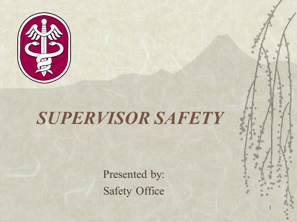 1 SUPERVISOR SAFETY Presented by: Safety Office