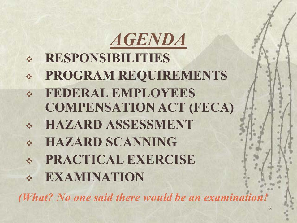 2 AGENDA  RESPONSIBILITIES  PROGRAM REQUIREMENTS  FEDERAL EMPLOYEES COMPENSATION ACT (FECA)  HAZARD ASSESSMENT  HAZARD SCANNING  PRACTICAL EXERC