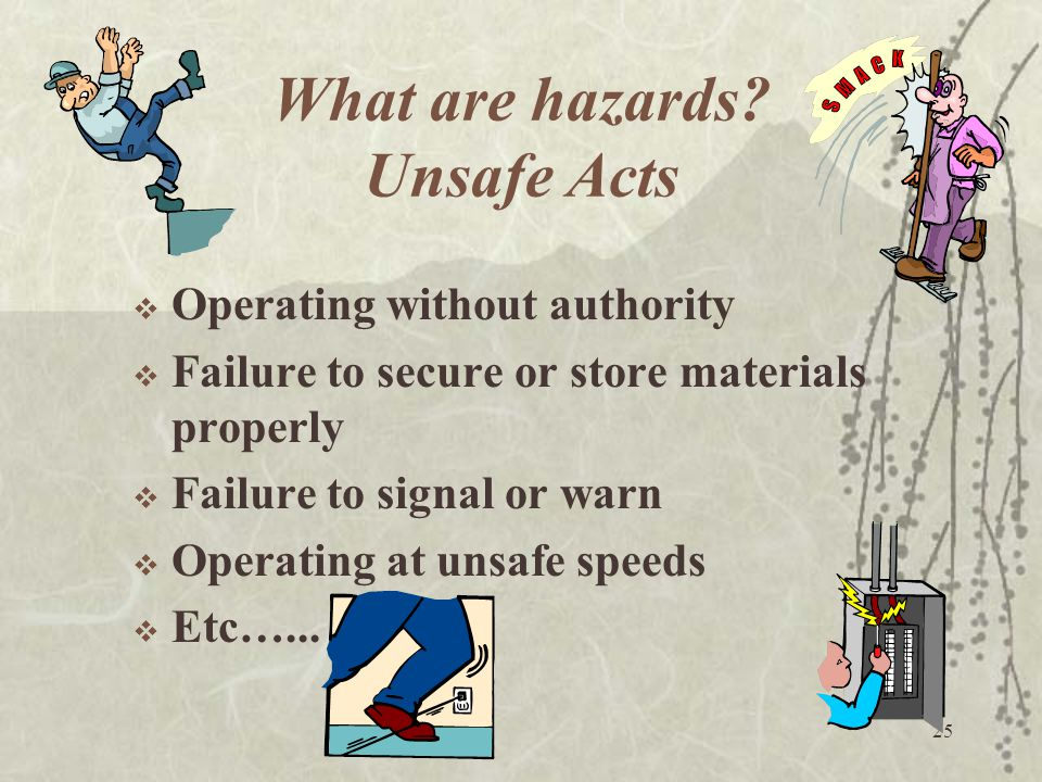 25 What are hazards? Unsafe Acts  Operating without authority  Failure to secure or store materials properly  Failure to signal or warn  Operating