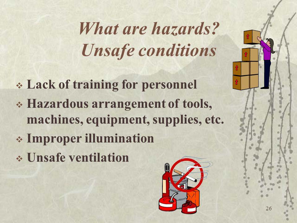 26 What are hazards? Unsafe conditions  Lack of training for personnel  Hazardous arrangement of tools, machines, equipment, supplies, etc.  Improp
