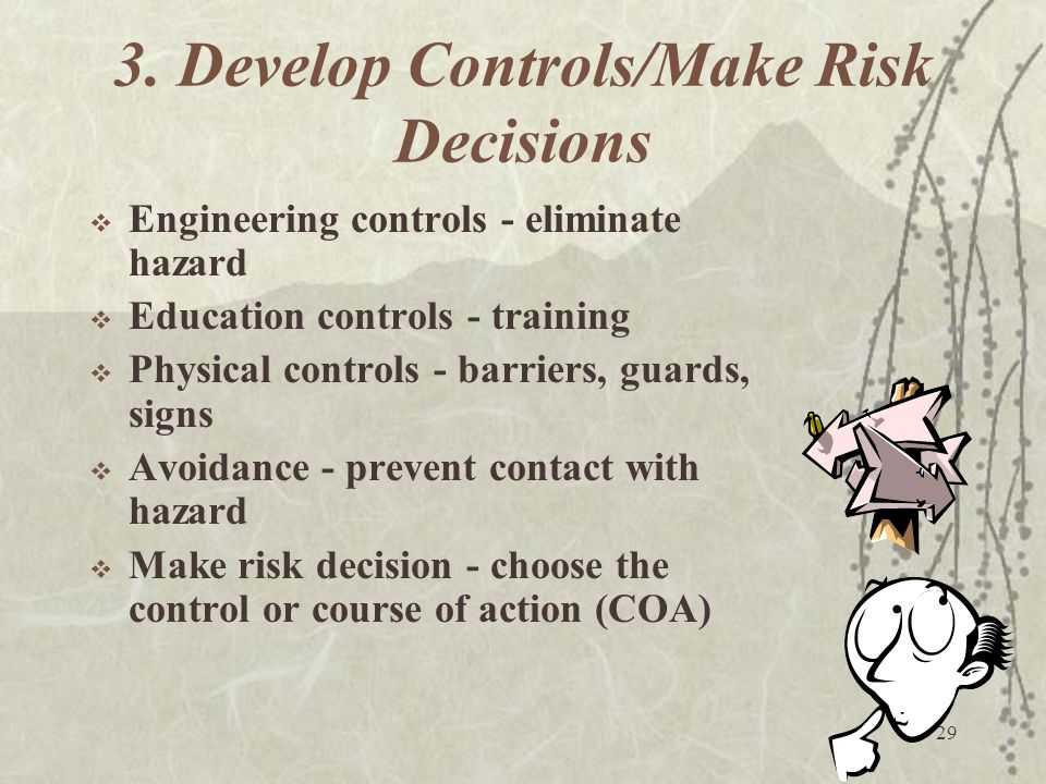 29 3. Develop Controls/Make Risk Decisions  Engineering controls - eliminate hazard  Education controls - training  Physical controls - barriers, g