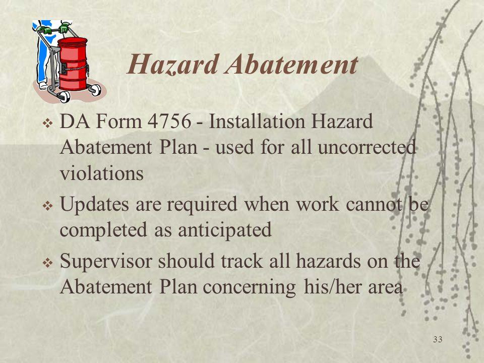 33 Hazard Abatement  DA Form 4756 - Installation Hazard Abatement Plan - used for all uncorrected violations  Updates are required when work cannot