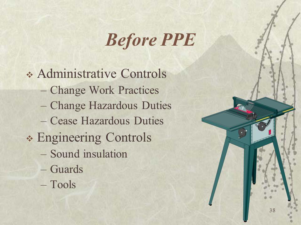 38 Before PPE  Administrative Controls –Change Work Practices –Change Hazardous Duties –Cease Hazardous Duties  Engineering Controls –Sound insulati