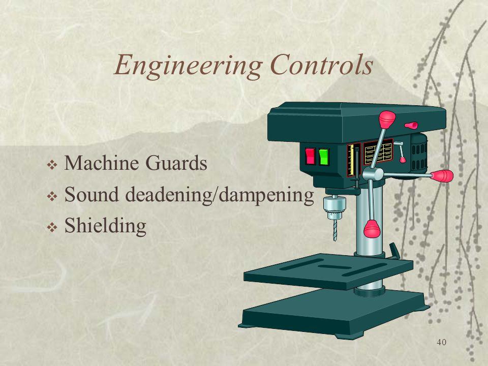 40 Engineering Controls  Machine Guards  Sound deadening/dampening  Shielding