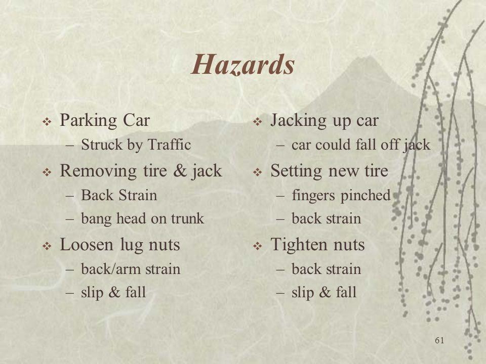 61 Hazards  Parking Car –Struck by Traffic  Removing tire & jack –Back Strain –bang head on trunk  Loosen lug nuts –back/arm strain –slip & fall 