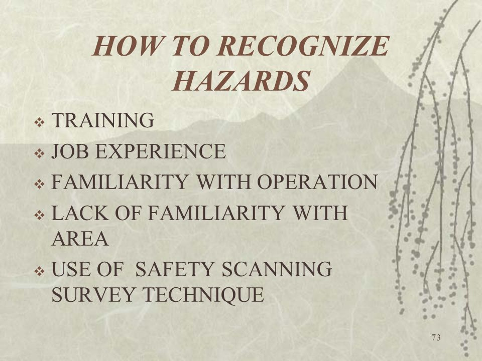 73 HOW TO RECOGNIZE HAZARDS  TRAINING  JOB EXPERIENCE  FAMILIARITY WITH OPERATION  LACK OF FAMILIARITY WITH AREA  USE OF SAFETY SCANNING SURVEY T