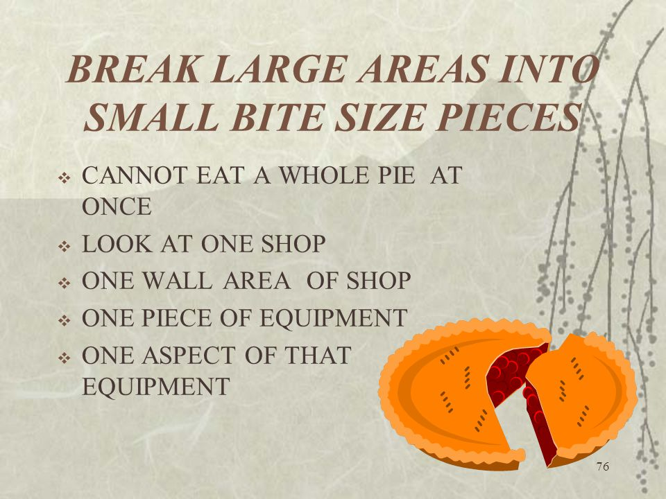 76 BREAK LARGE AREAS INTO SMALL BITE SIZE PIECES  CANNOT EAT A WHOLE PIE AT ONCE  LOOK AT ONE SHOP  ONE WALL AREA OF SHOP  ONE PIECE OF EQUIPMENT