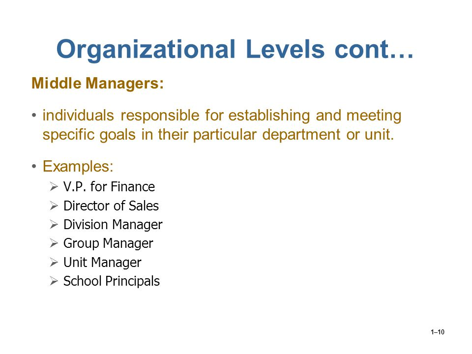 1–10 Organizational Levels cont… Middle Managers: individuals responsible for establishing and meeting specific goals in their particular department o