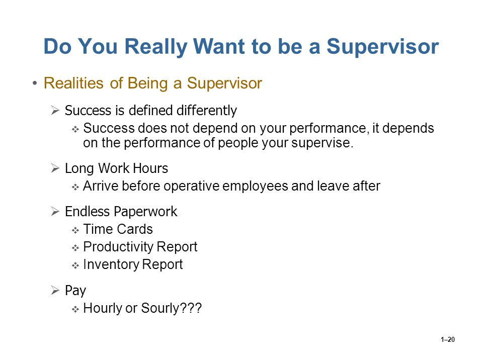 1–20 Do You Really Want to be a Supervisor Realities of Being a Supervisor  Success is defined differently  Success does not depend on your performa