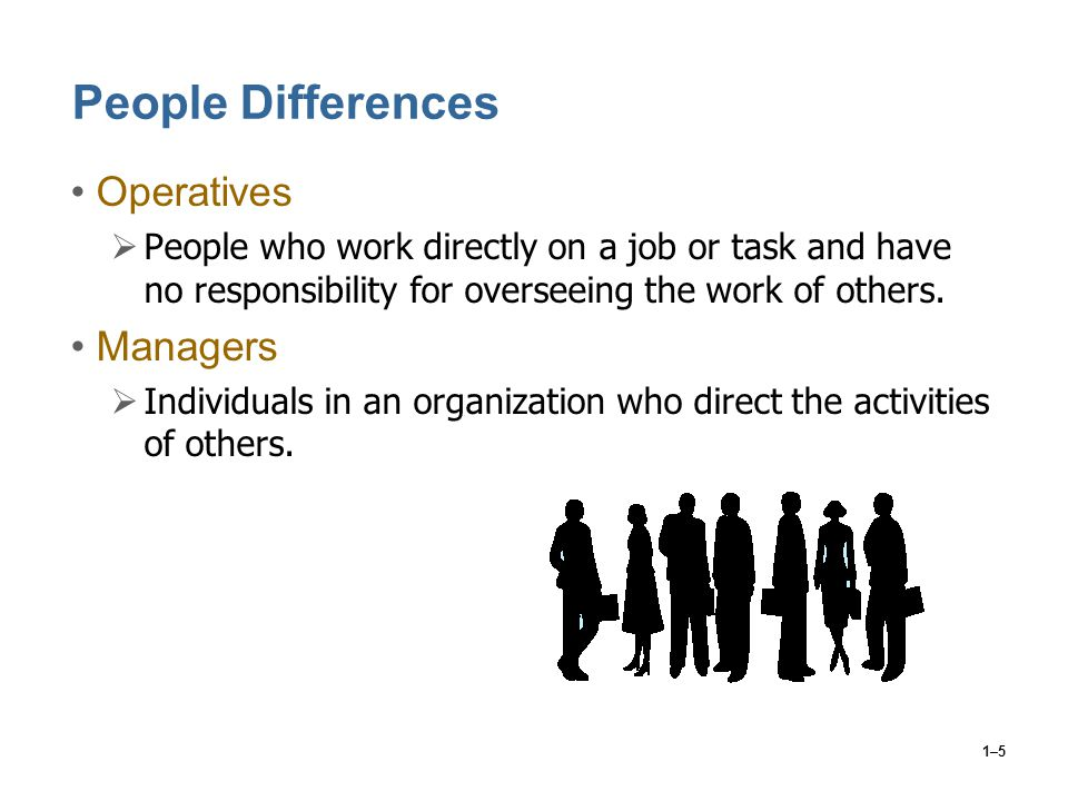 1–5 People Differences Operatives  People who work directly on a job or task and have no responsibility for overseeing the work of others. Managers 