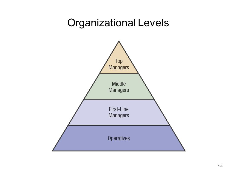 1–7 Identifying Managers First-line managers  Supervisors responsible for directing the day-to-day activities of operative employees Middle managers  Individuals at levels of management between the first-line manager and top management Top managers  Individuals who are responsible for making decisions about the direction of the organization and establishing policies that affect all organizational members