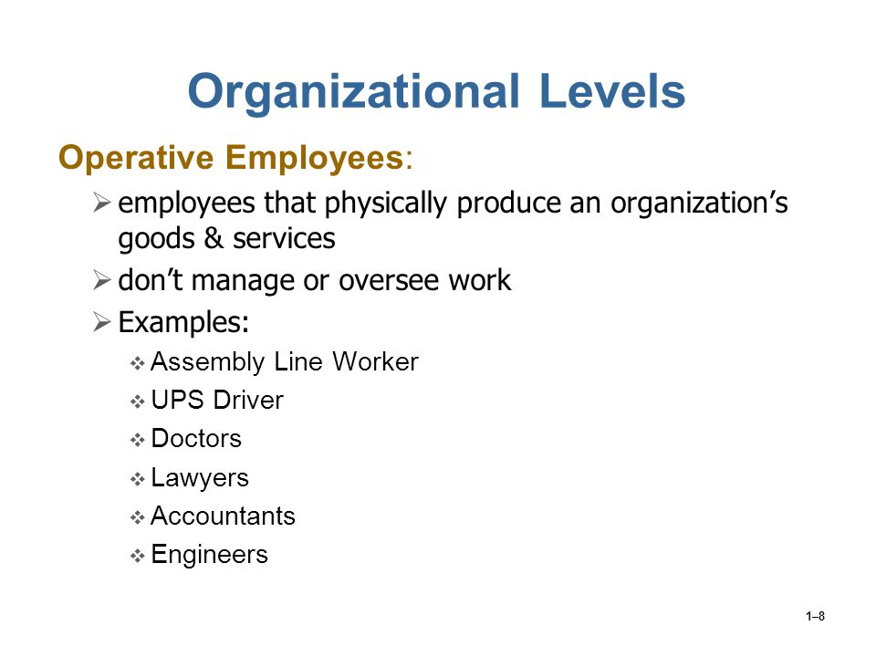 1–8 Organizational Levels Operative Employees:  employees that physically produce an organization's goods & services  don't manage or oversee work 