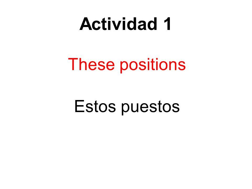 Actividad 1 These positions Estos puestos