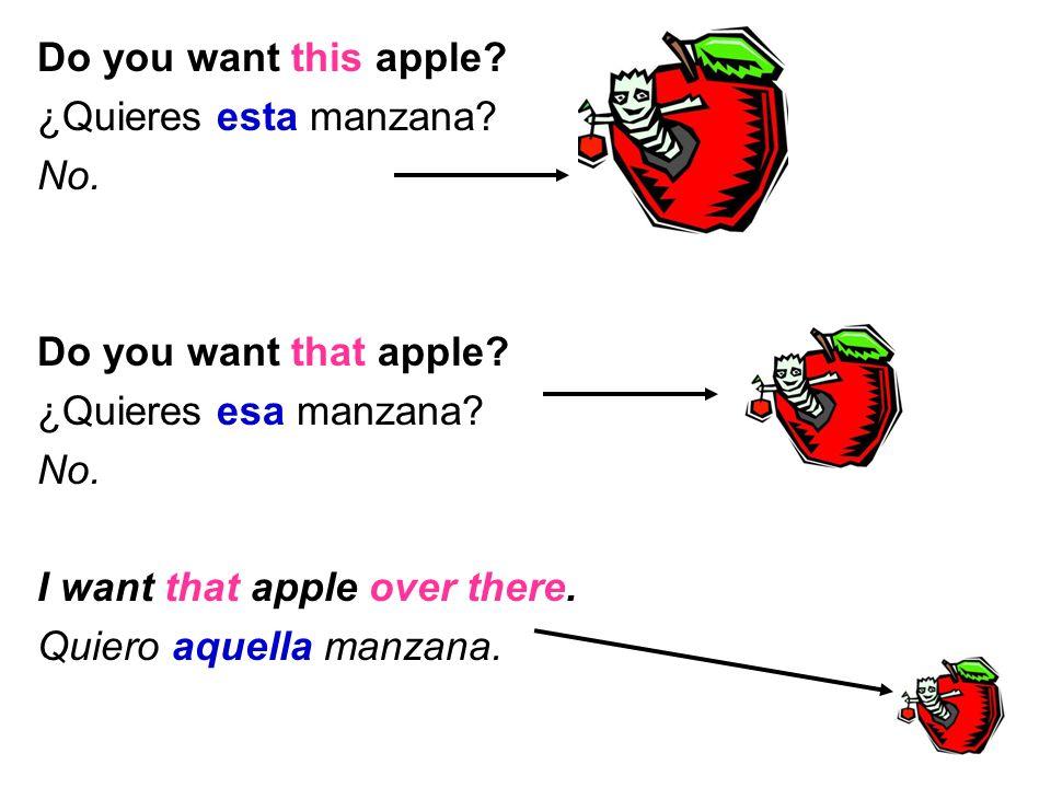Do you want this apple. ¿Quieres esta manzana. No.