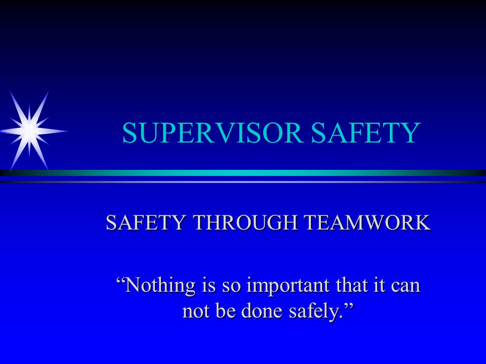 OBJECTIVES ä Safety at ECU - integral part of every task ä Supervisor Safety Responsibility ä Safety Enforcement ä Workers' Compensation/RTW ä Accident Investigation