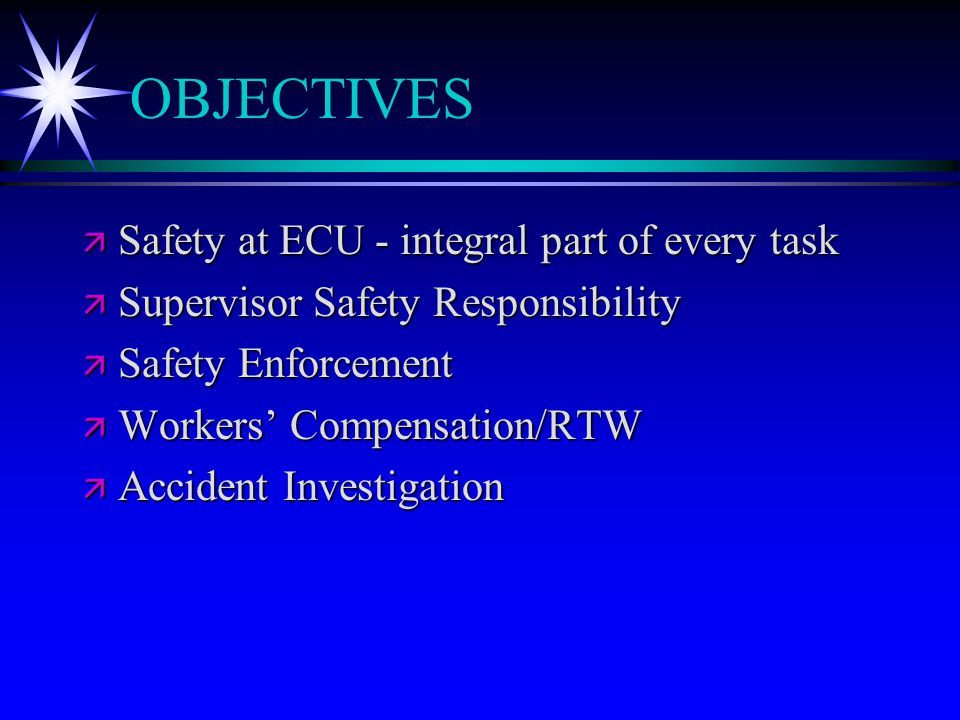 THE SAFETY TEAM ä Upper Management ä Supervisors ä Employees ä Safety Committees ä Environmental Health & Safety