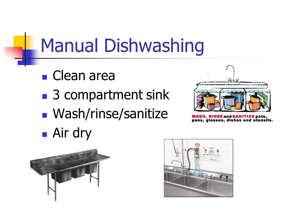 Manual Dishwashing Clean area 3 compartment sink Wash/rinse/sanitize Air dry