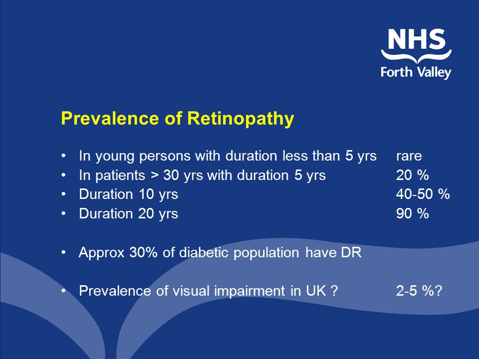 Prevalence of Retinopathy In young persons with duration less than 5 yrsrare In patients > 30 yrs with duration 5 yrs20 % Duration 10 yrs40-50 % Durat