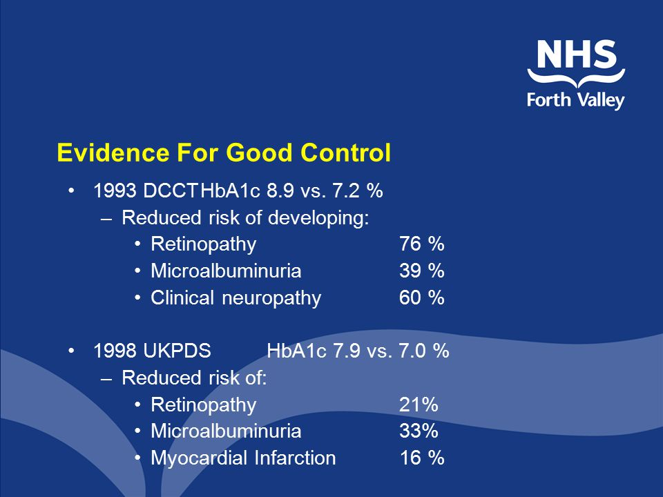 Evidence For Good Control 1993 DCCTHbA1c 8.9 vs.