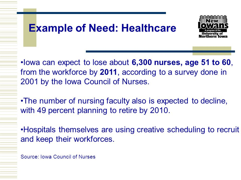 Iowa can expect to lose about 6,300 nurses, age 51 to 60, from the workforce by 2011, according to a survey done in 2001 by the Iowa Council of Nurses
