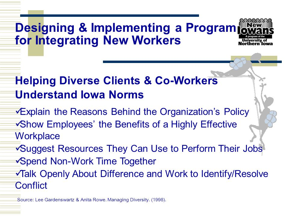 Helping Diverse Clients & Co-Workers Understand Iowa Norms Explain the Reasons Behind the Organization's Policy Show Employees' the Benefits of a High