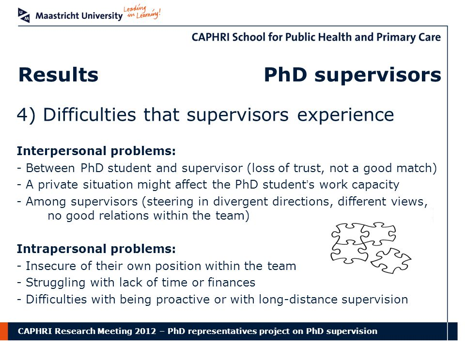 CAPHRI Research Meeting 2012 – PhD representatives project on PhD supervision Results PhD supervisors 4) Difficulties that supervisors experience Interpersonal problems: - Between PhD student and supervisor (loss of trust, not a good match) - A private situation might affect the PhD student's work capacity - Among supervisors (steering in divergent directions, different views, no good relations within the team) Intrapersonal problems: - Insecure of their own position within the team - Struggling with lack of time or finances - Difficulties with being proactive or with long-distance supervision