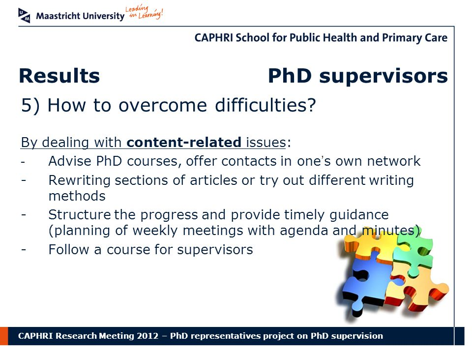 CAPHRI Research Meeting 2012 – PhD representatives project on PhD supervision Results PhD supervisors 5) How to overcome difficulties.