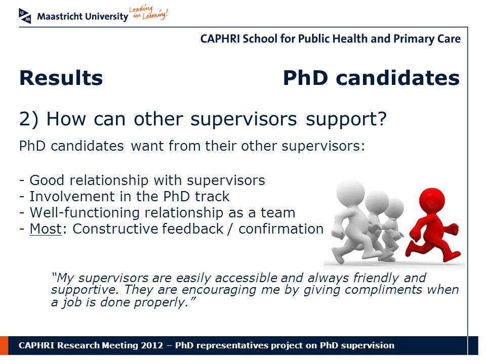 CAPHRI Research Meeting 2012 – PhD representatives project on PhD supervision Results PhD candidates 2) How can other supervisors support.