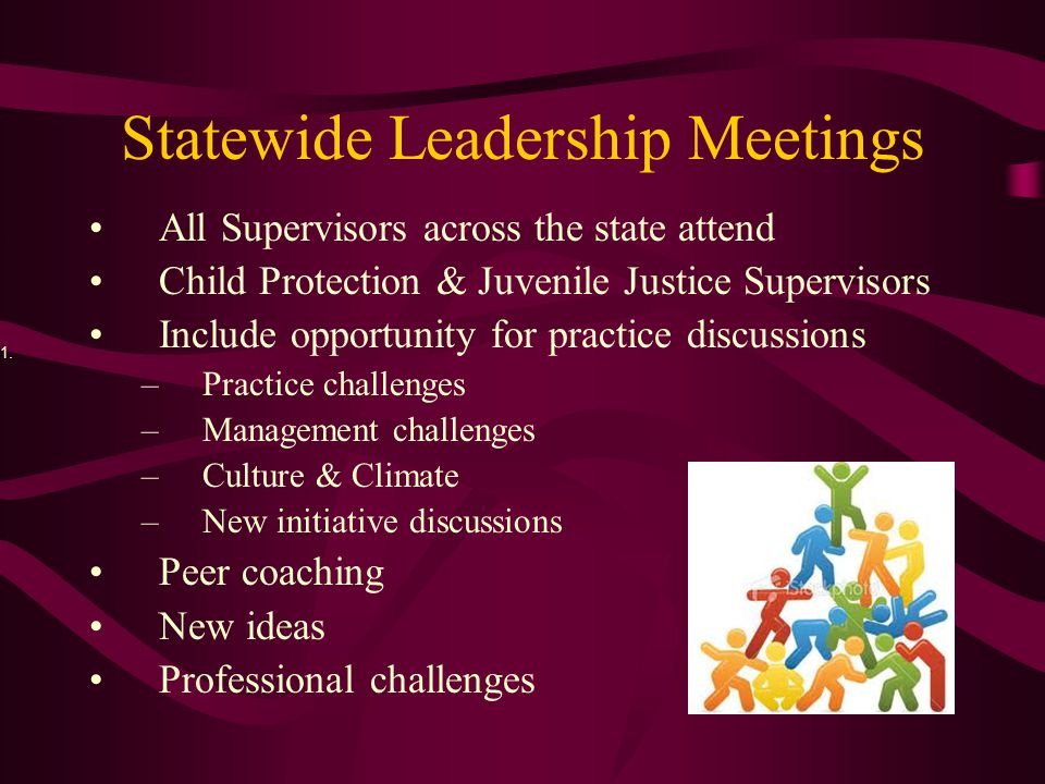 Statewide Leadership Meetings All Supervisors across the state attend Child Protection & Juvenile Justice Supervisors Include opportunity for practice discussions –Practice challenges –Management challenges –Culture & Climate –New initiative discussions Peer coaching New ideas Professional challenges 1.