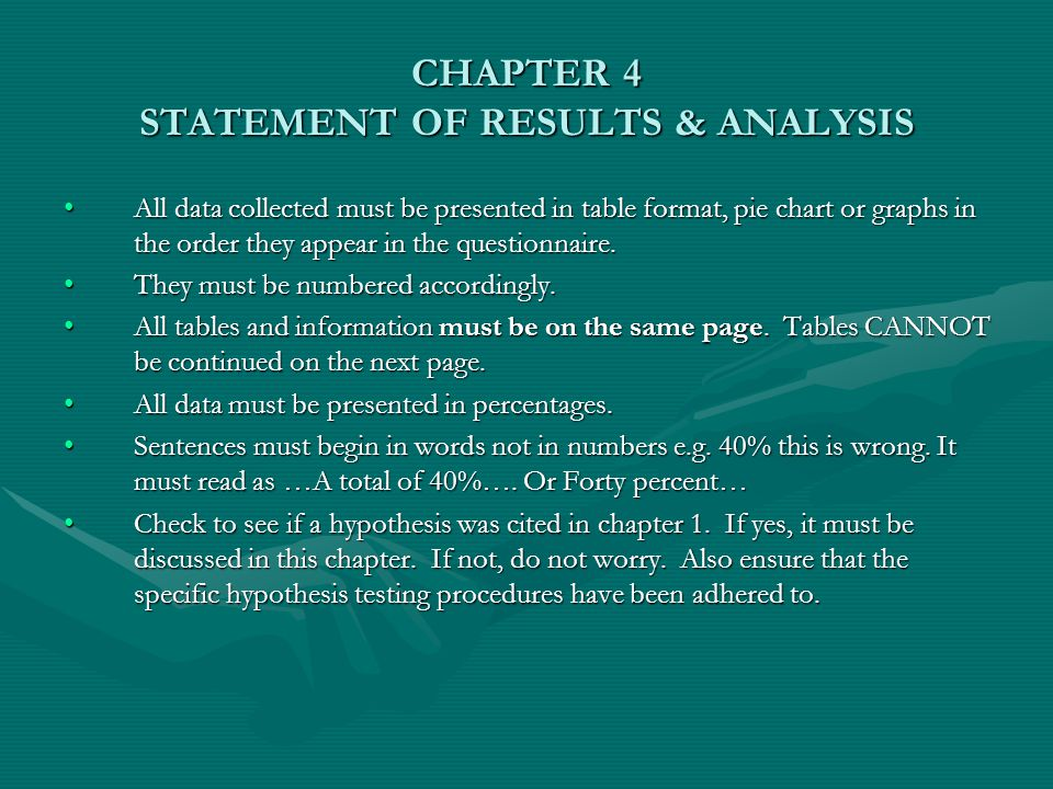 CHAPTER 4 STATEMENT OF RESULTS & ANALYSIS All data collected must be presented in table format, pie chart or graphs in the order they appear in the questionnaire.All data collected must be presented in table format, pie chart or graphs in the order they appear in the questionnaire.