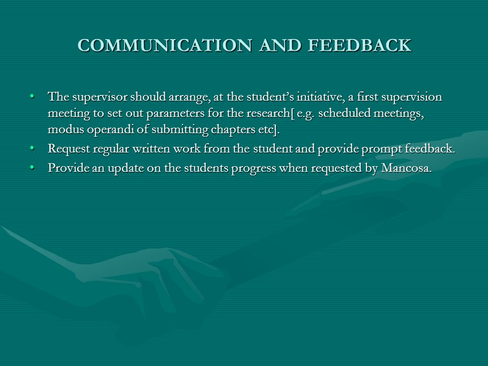 WHAT TO LOOK FOR WHEN REVIEWING THE PROPOSAL The supervisor must become familiar with the student's proposal.The supervisor must become familiar with the student's proposal.
