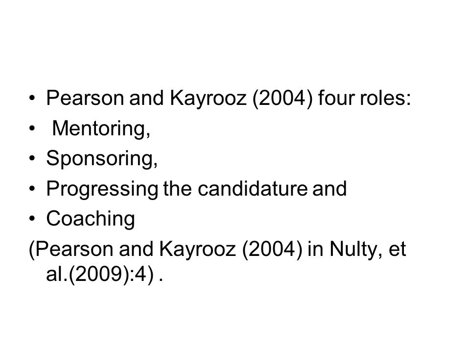 Pearson and Kayrooz (2004) four roles: Mentoring, Sponsoring, Progressing the candidature and Coaching (Pearson and Kayrooz (2004) in Nulty, et al.(20