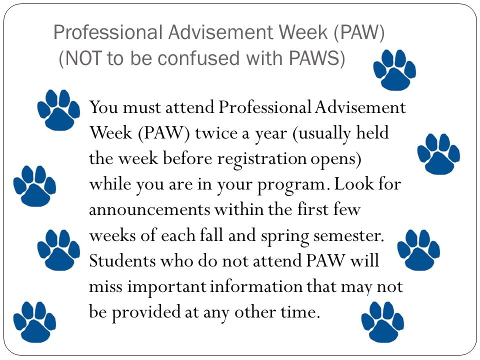 Professional Advisement Week (PAW) (NOT to be confused with PAWS) You must attend Professional Advisement Week (PAW) twice a year (usually held the week before registration opens) while you are in your program.