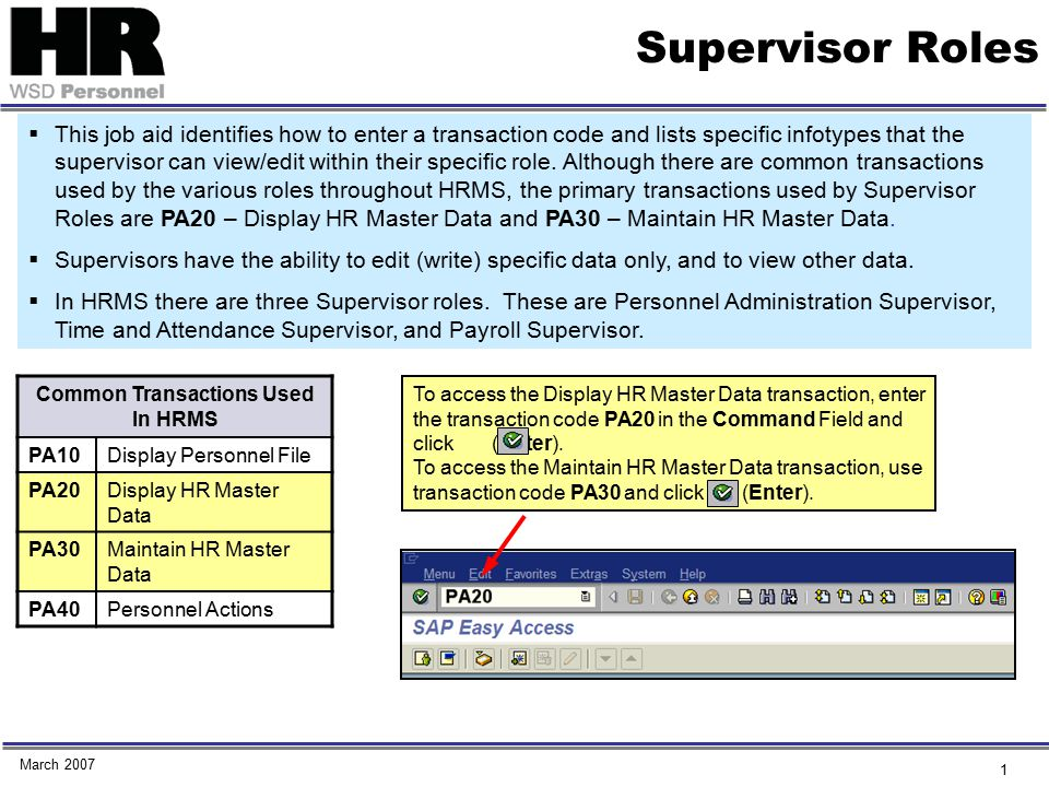 2 Supervisor Roles Infotypes that can be viewed and/or managed by Personnel Administration Supervisor Infotype No.