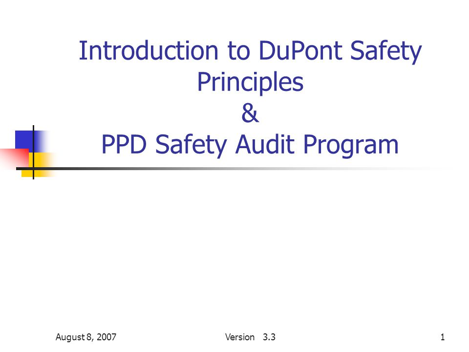 August 8, 2007Version 3.31 Introduction to DuPont Safety Principles & PPD Safety Audit Program
