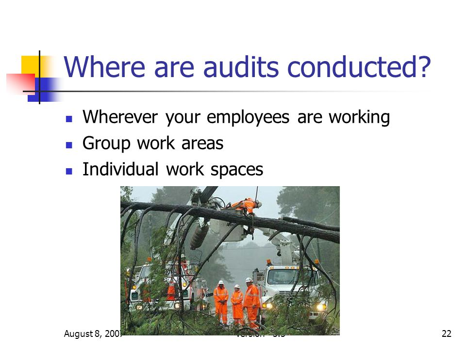 August 8, 2007Version 3.322 Where are audits conducted? Wherever your employees are working Group work areas Individual work spaces