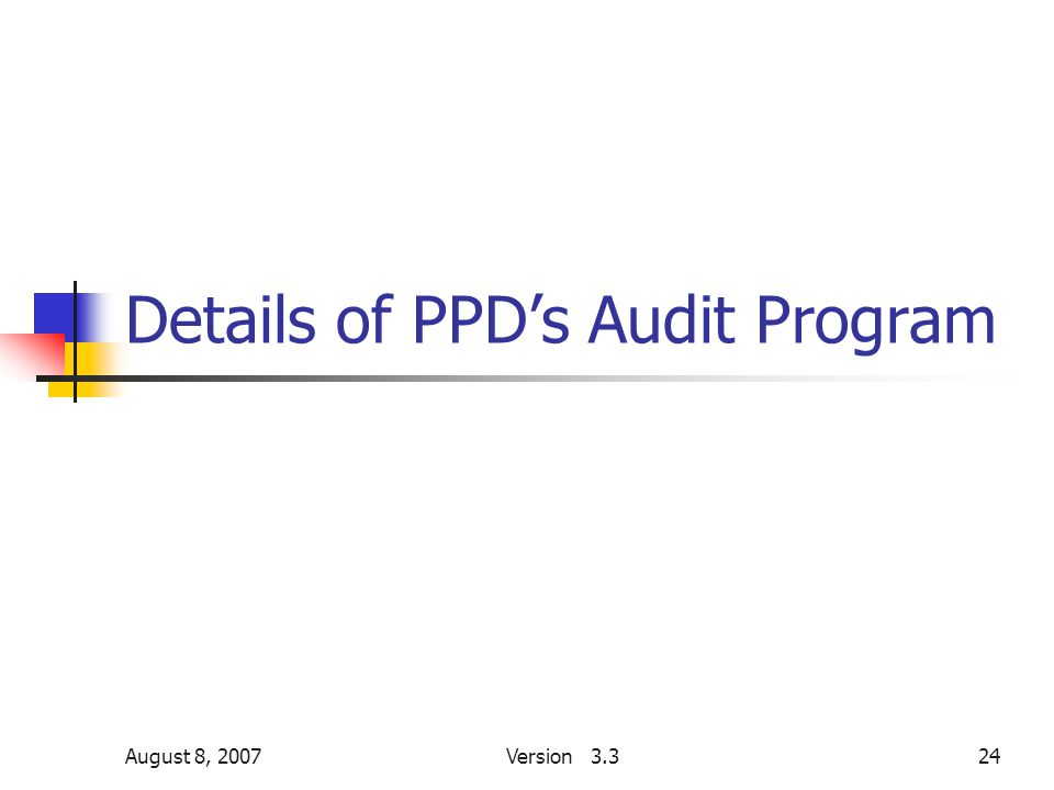 August 8, 2007Version 3.324 Details of PPD's Audit Program