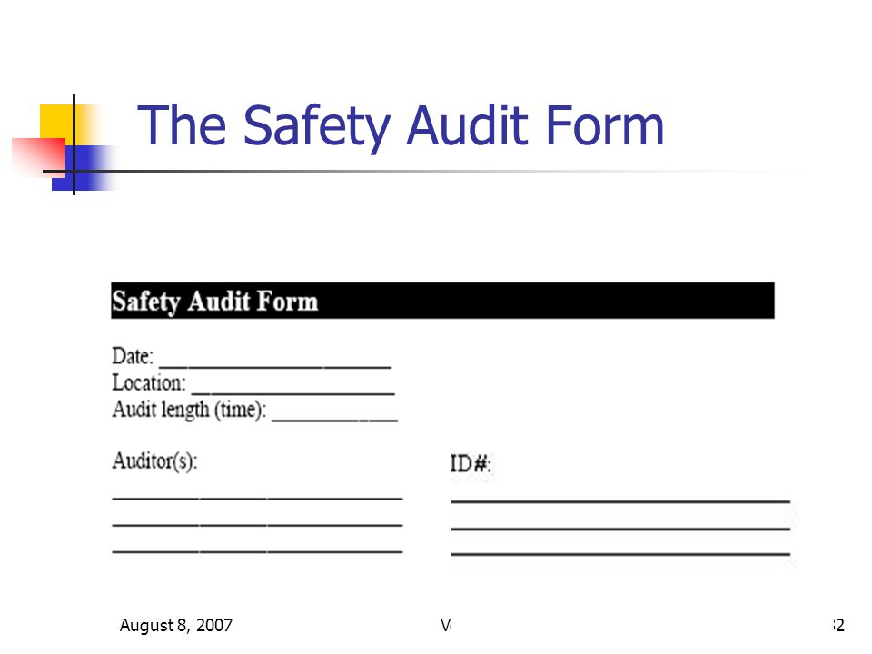 August 8, 2007Version 3.332 The Safety Audit Form