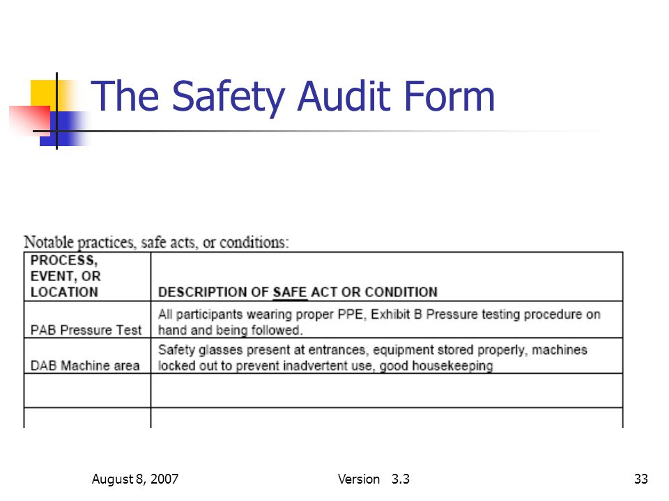 August 8, 2007Version 3.333 The Safety Audit Form