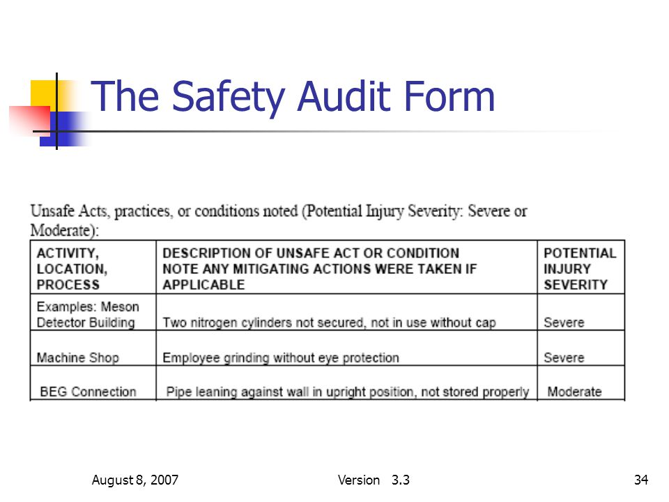 August 8, 2007Version 3.334 The Safety Audit Form