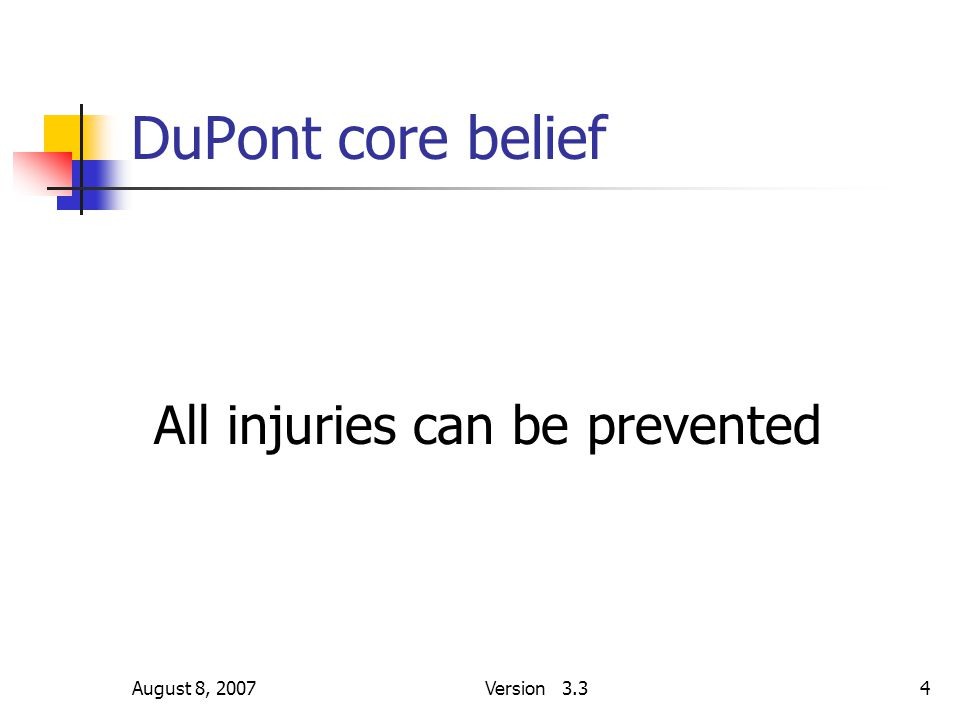 August 8, 2007Version 3.34 DuPont core belief All injuries can be prevented