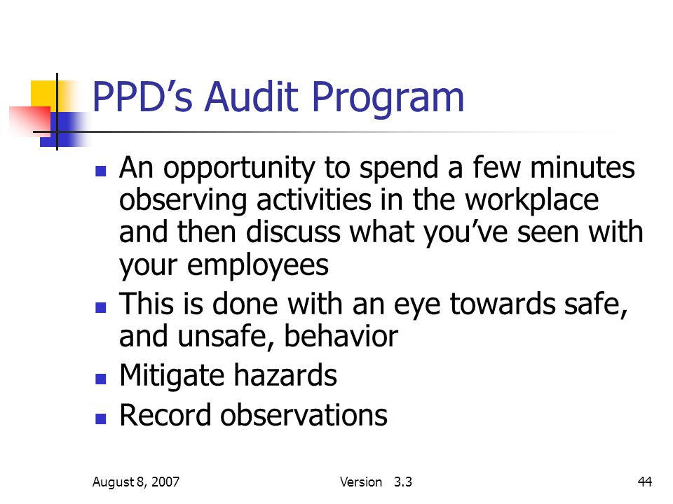 August 8, 2007Version 3.344 PPD's Audit Program An opportunity to spend a few minutes observing activities in the workplace and then discuss what you'