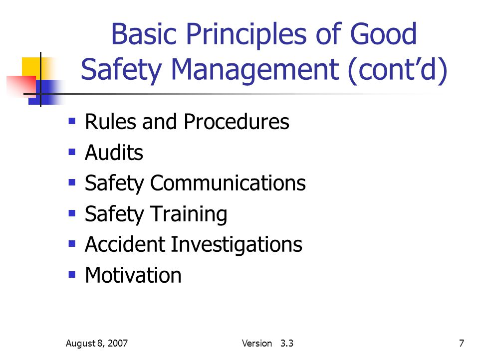 August 8, 2007Version 3.37 Basic Principles of Good Safety Management (cont'd)  Rules and Procedures  Audits  Safety Communications  Safety Traini