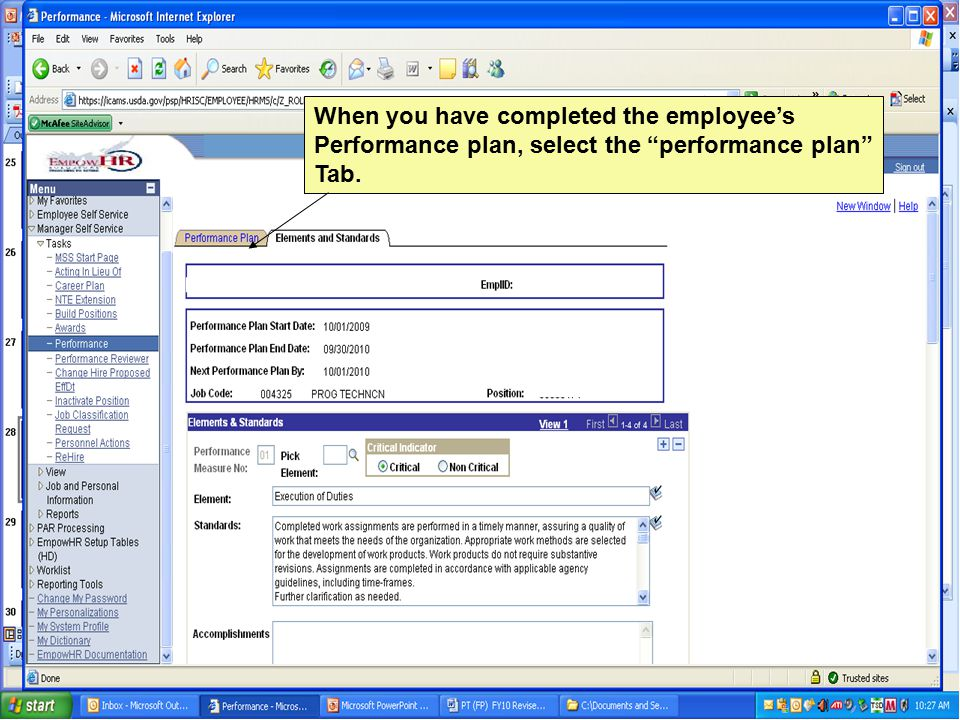When you have completed the employee's Performance plan, select the performance plan Tab.