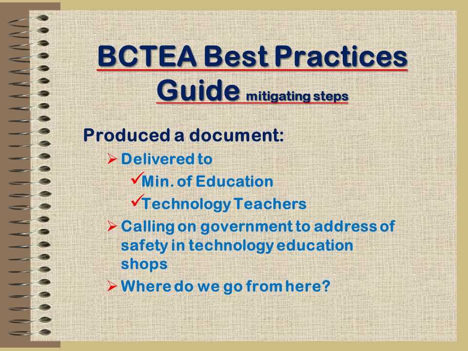 BCTEA Best Practices Guide mitigating steps Produced a document:  Delivered to Min.