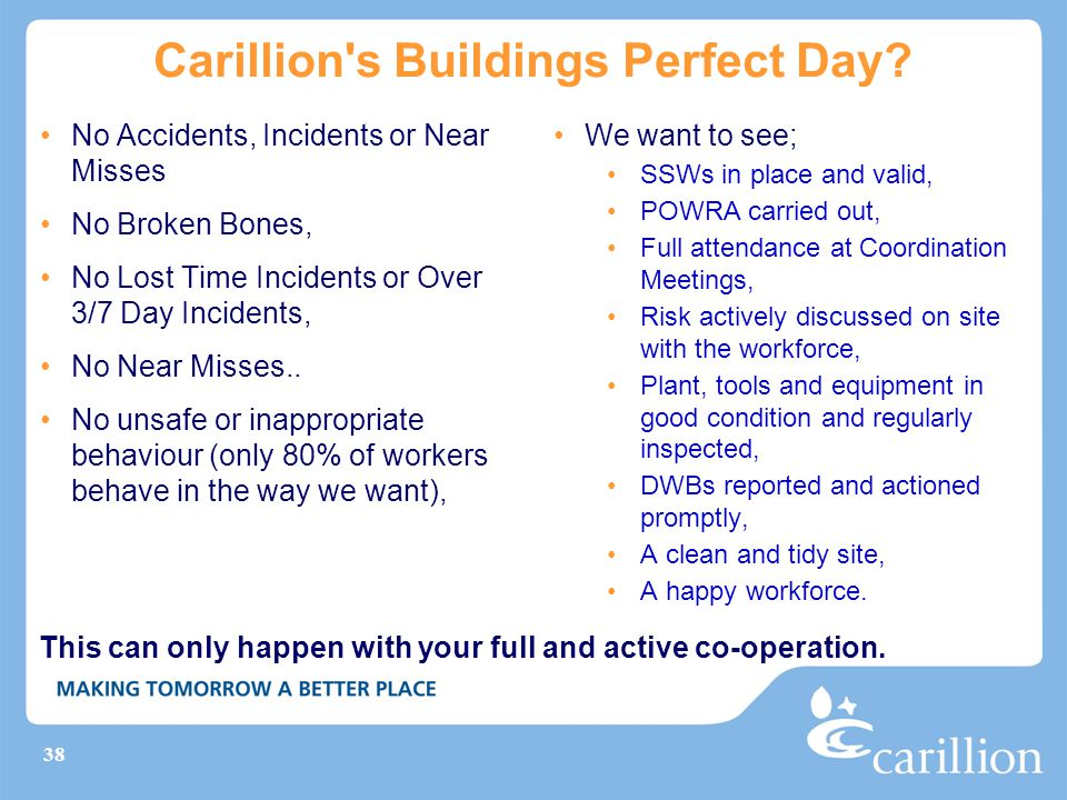38 Carillion's Buildings Perfect Day? No Accidents, Incidents or Near Misses No Broken Bones, No Lost Time Incidents or Over 3/7 Day Incidents, No Nea