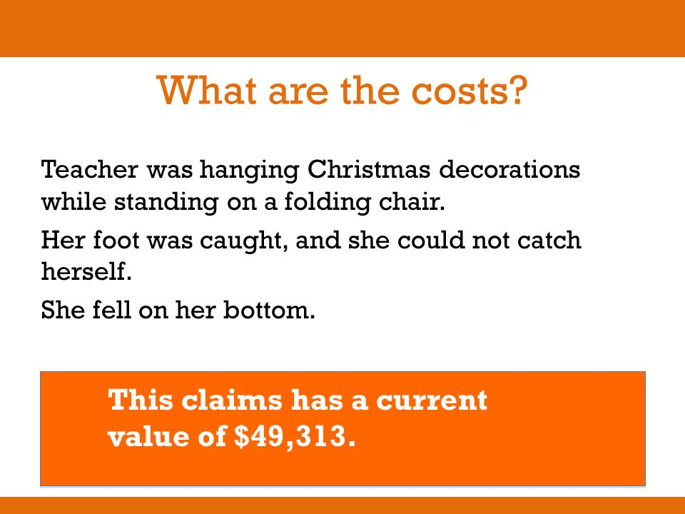 What are the costs? Teacher was hanging Christmas decorations while standing on a folding chair. Her foot was caught, and she could not catch herself.