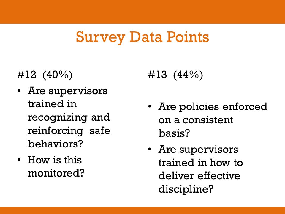 Survey Data Points #12 (40%) Are supervisors trained in recognizing and reinforcing safe behaviors? How is this monitored? #13 (44%) Are policies enfo