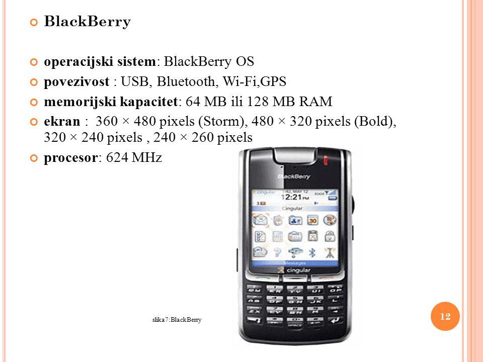 BlackBerry operacijski sistem: BlackBerry OS povezivost : USB, Bluetooth, Wi-Fi,GPS memorijski kapacitet: 64 MB ili 128 MB RAM ekran : 360 × 480 pixels (Storm), 480 × 320 pixels (Bold), 320 × 240 pixels, 240 × 260 pixels procesor: 624 MHz slika7:BlackBerry 12